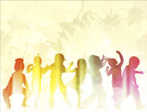 Dancing children silhouettes Stock Photos