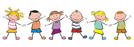 Dancing children. Dancing smiling children. Funny illustration. A group of children in a row Royalty Free Stock Images