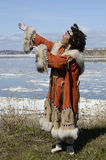 Dancing chukchi woman Royalty Free Stock Image