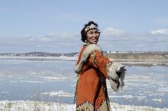 Dancing chukchi woman stock photos