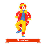 Dancing circus clown. Vector illustration  on white background Stock Images