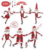 Dancing Claus set.Humorous flat figure Royalty Free Stock Photo