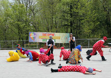 Dancing Clowns. At the celebration of Lag Ba'Omer in May 18, 2014 in Toronto, Canada Stock Image