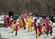 Dancing Clowns. Clowns dance on the stage at  Lag B'Omer celebration  in Earle Bales Park in April 28, 2013 in Toronto Stock Photography