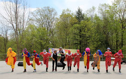 Dancing Clowns. The clowns dancing at Lag Ba'Omer celebration in May 18, 2014 in Toronto, Canada Royalty Free Stock Image
