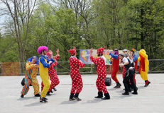 Dancing Clowns. The clowns dancing at Lag Ba'Omer celebration in May 18, 2014 in Toronto, Canada Royalty Free Stock Photos