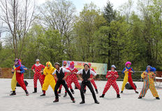 Dancing Clowns. The clowns dancing at Lag BaOmer celebration in May 18, 2014 in Toronto, Canada Royalty Free Stock Images