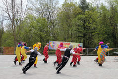 Dancing Clowns. The clowns dancing at Lag BaOmer celebration in May 18, 2014 in Toronto, Canada Stock Photos