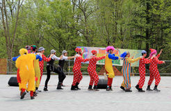 Dancing Clowns. The clowns dancing at Lag BaOmer celebration in May 18, 2014 in Toronto, Canada Royalty Free Stock Photo