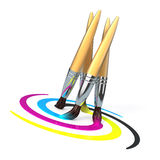 Dancing cmyk brushes Royalty Free Stock Photos
