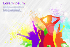 Dancing Colorful Girl Splash Paint Dance Banner Royalty Free Stock Photo