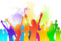 Dancing Colorful Girl Splash Paint Dance Banner Royalty Free Stock Photography
