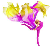 Dancing con il tessuto, bianco flessibile dell'acrobata del body della donna immagine stock libera da diritti