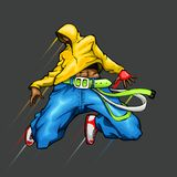 Dancing Cool Guy. Illustration of cool guy in dancing pose Royalty Free Stock Photo