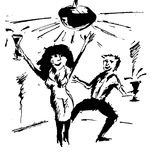 Dancing couple. Black and white  image of a happy couple dancing to the music Royalty Free Stock Images
