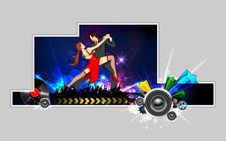 Dancing Couple. Illustration of dancing couple performing salsa on abstract background Stock Photo