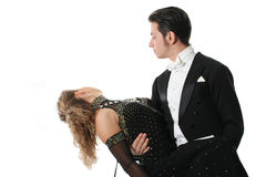 Dancing couple. The young man and the girl dancing the tango Royalty Free Stock Images