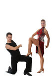 Dancing couple. The young man and the girl dancing the Latin American dance Stock Photos