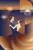 Dancing couple Art Deco geometric style poster Stock Image