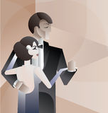 Dancing couple Art Deco geometric style poster Stock Photos
