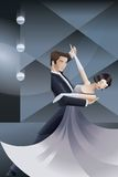 Dancing couple Art Deco geometric style poster Royalty Free Stock Photo