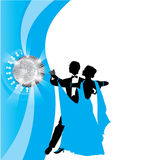Dancing couple. Blue background with dancing couple Royalty Free Stock Image