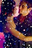 Dancing couple at celebration stock photos