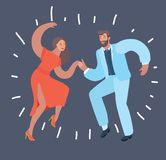 Dancing couple at dark background. vector illustration