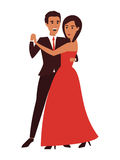 Dancing couple. Flat design vector illustration Stock Photos