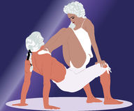Dancing Couple In White Wigs Royalty Free Stock Image