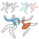 Dancing couple line art. Stock Image