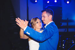 Dancing Couple. Couple dancing at night in blue light Stock Photos