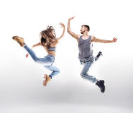 Dancing couple over the white background Stock Photography