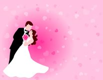 Dancing couple with pink background Royalty Free Stock Photography