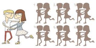 Dancing Couple Shadows Visual Game vector illustration