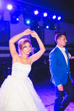 Dancing Couple at Wedding Party. Dancing bride and groom at night wedding party Royalty Free Stock Photos