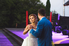 Dancing Couple at Yard. Dancing bride and groom at yard Stock Photo