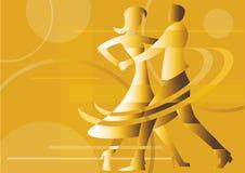 Dancing couple yellow background. stock illustration