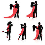 Dancing couples. Set of vector silhouettes of dancing couples Stock Images