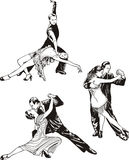 Dancing couples. Set of black and white vector illustrations Royalty Free Stock Photo