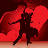 Dancing couples with background of hearts. Vector illustration Stock Photos