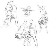 Dancing couples, ballroom dancers. Vector illustration of ballroom dancing couples royalty free illustration