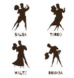 Dancing Couples Black Retro Cartoon  Icons Royalty Free Stock Image