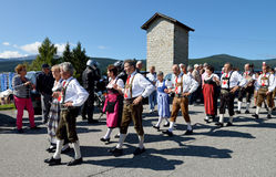 Dancing couples at the fair in Maranza, South Tyrol,Italy Stock Photos
