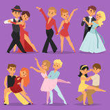 Dancing couples romantic person people dance man with woman entertainment together beauty vector illustration. Stock Image