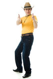 Dancing Cowboy finger points forward Stock Photography