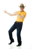 Dancing Cowboy finger points forward Royalty Free Stock Photography