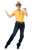 Dancing Cowboy finger points forward Royalty Free Stock Images