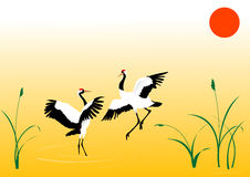 Dancing cranes stock illustration