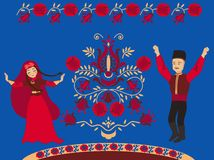 Dancing Crimean Tatar and pomegranate Tree of Life on a blue background royalty free stock photo